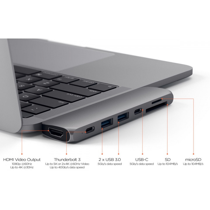 HyperDrive SOLO 7-in-1 USB-C Hub for MacBook, PC & Devices DARK GRAY