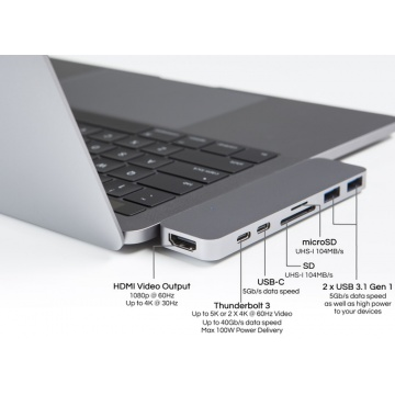 "HyperDrive Hub for USB-C MacBook Pro 13"" and 15"" 2016/2017 SILVER"
