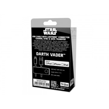 Tribe Star Wars USB to Lightning Sync&Charge Cable for Apple iPhone (Apple MFi Certified), 120 cm - Darth Vader