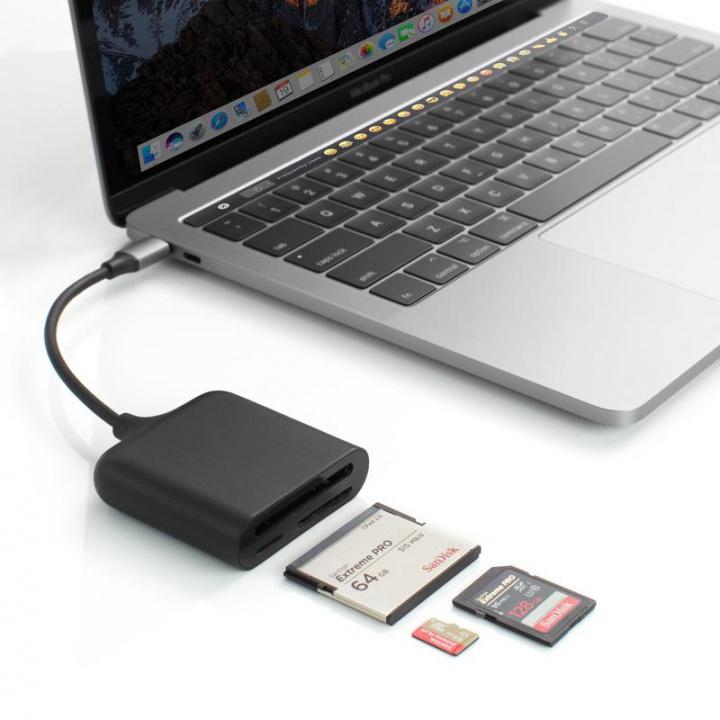 HyperDrive USB-C Pro Lecteur de cartes 3en1, SD, microSD &Compact Flash vers USB-C