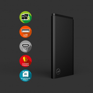 Powerbank Alu 5000mAh Type-C - Noir