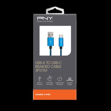 PNY USB-A to USB-C 2.0 Braided Blue