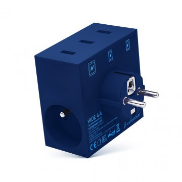 HIDE - POWER HUB, 5 EN 1, 3 PORTS USB ET MULTIPRISE BLEU