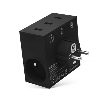 HIDE - POWER HUB, 5 EN 1, 3 PORTS USB ET MULTIPRISE NOIR
