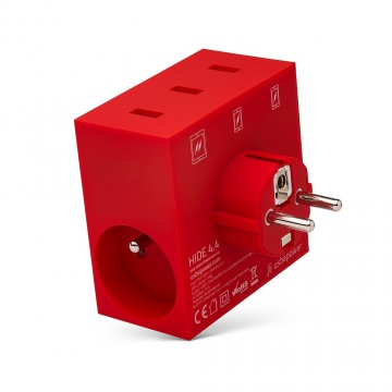 HIDE - POWER HUB, 5 EN 1, 3 PORTS USB ET MULTIPRISE ROUGE