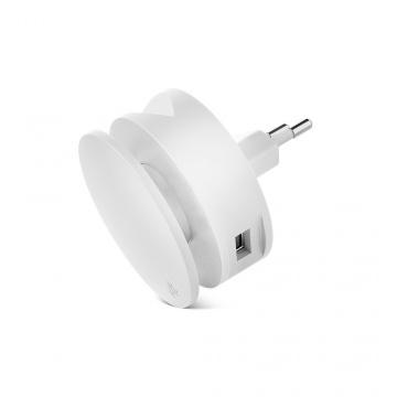 AERO MINI Chargeur  2 EN 1, 2 PORTS USB, ENROULEUR ET SUPPORT DE TÉLÉPHONE BLANC