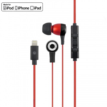 Intra filaire Lightning  MFI pour iPhone Noir / Rouge