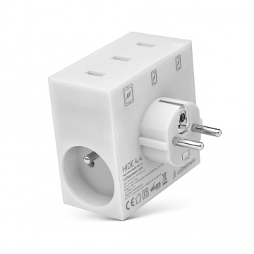 HIDE - POWER HUB, 5 EN 1, 3 PORTS USB ET MULTIPRISE BLANC