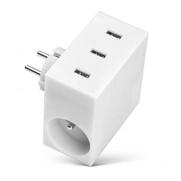 HIDE - POWER HUB, 5 EN 1, 3 PORTS USB ET MULTIPRISE BLANC