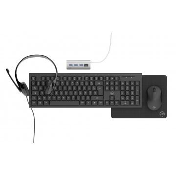 Pack Office 5 en 1 (Clavier sans fil + Souris sans fil + Tapis + Casque Micro + HUB USB 4 Ports